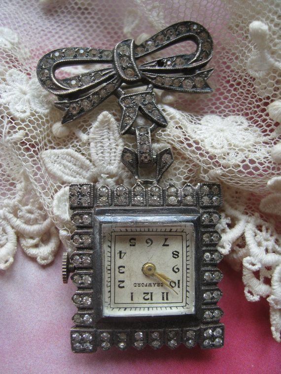 Deco Sterling Paste Lapel Watch TLC  Sterling by AndOnToWillow