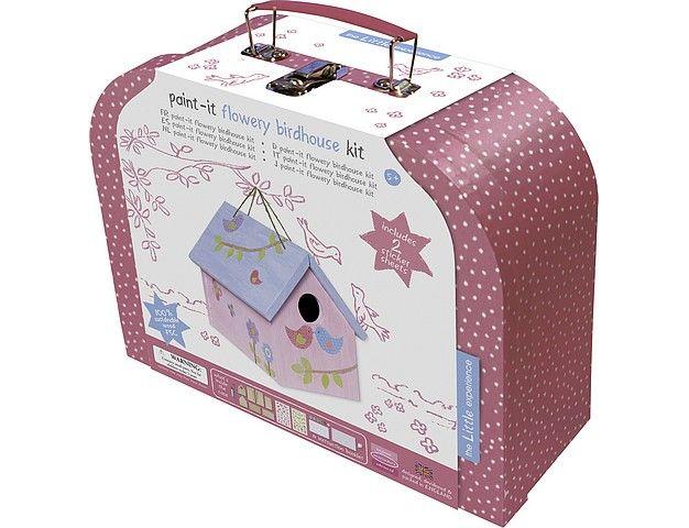 Vogelhuisje doe-het-zelf-kit meisjes *** Koffertje gevuld met een volledig pakket voor het bouwen en schilderen van een lieflijk vogelhuisje. Inclusief alle materialen voor deze leuke activiteit. Fijn knutselmoment voor kleine meisjes.