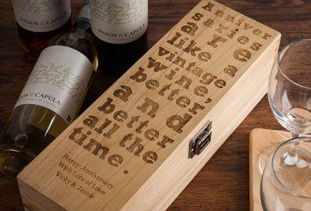 Personalised Luxury Wooden Wine Box – Anniversary Design