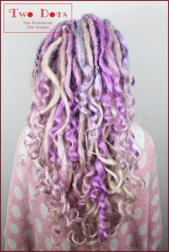 1/2 Set Lavender and Blonde Mixed Curly Dreads Extensions. Double, Single Ended Dreads or Mix.