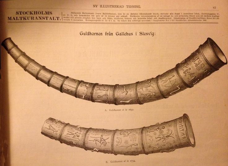 Guldhornet från Gallehus - en av Nordens mest värdefulla klenoder. Guldhornen från Gallehus i Slesvig i Danmark tros vara gjorda på 400-talet. Ett av guldhornen hittade 1639 av en bondflicka och kom i Kristian V:s ägo. Ungefär hundra år senare hittade man ett annat guldhorn vid fyndplatsen. Det tyngsta hornet vägde 3.2 kilo och ett av hornen hade en urnordisk runinskrift. 1802 stals de unika hornen av en guldsmed och smältes ner.