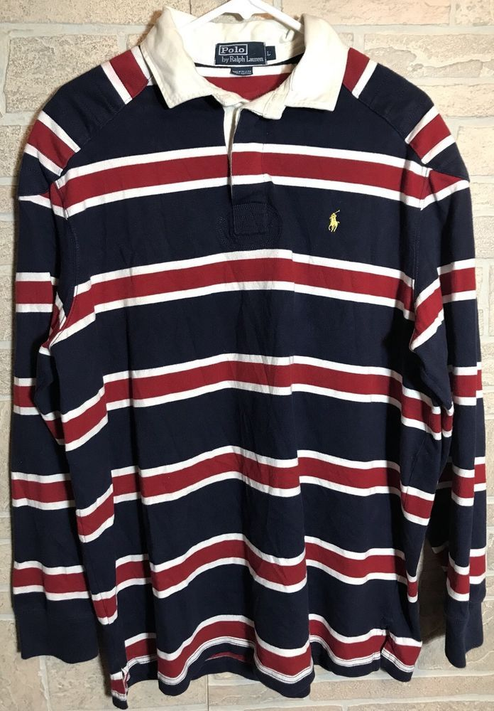 Polo Ralph Lauren Padded Shoulder Elbow Rugby Shirt Blue Red White
