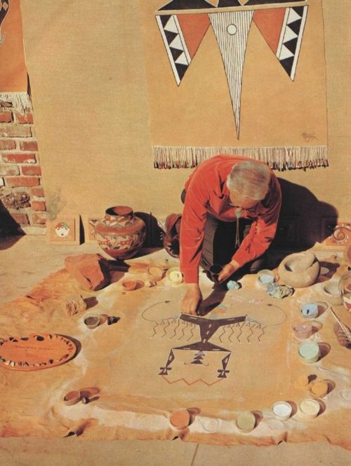 Sand painting. ** Native American, I think.