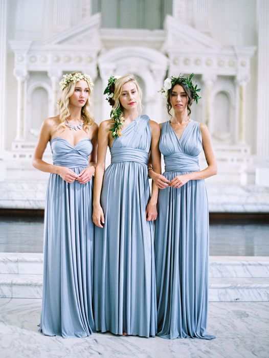 Your hue; your bridesmaid's style! Creating a multi-style bridal party is easier than ever, with Versa, the convertible bridesmaid dress collection at David's Bridal. Concept & Styling: 100 Layer Cake / 100layercake.com/blog     Photography: Braedon Flynn Photography / braedonphotography.com