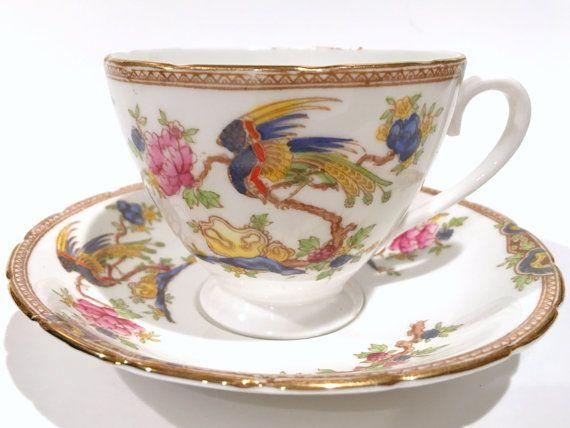 Collingwoods Tea Cup, Phoenix Bird Tea Cups, thee Set, antieke theekopjes, Vintage Tea Party, Engelse Bone China Tea Cup, Vintage theekopjes