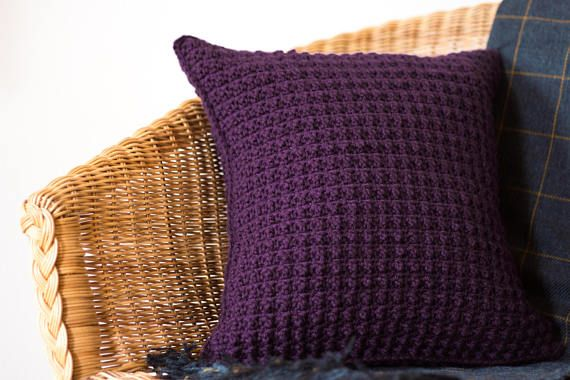 This purple modern pillow cover complements minimalist yet luxury decor. Cozy yet decorative, this funky cushion cover would also look great in a teen bedroom.   DETAILS AND FEATURES  - Created using a textured crochet stitch. - Features an envelope opening at the base of the cover and