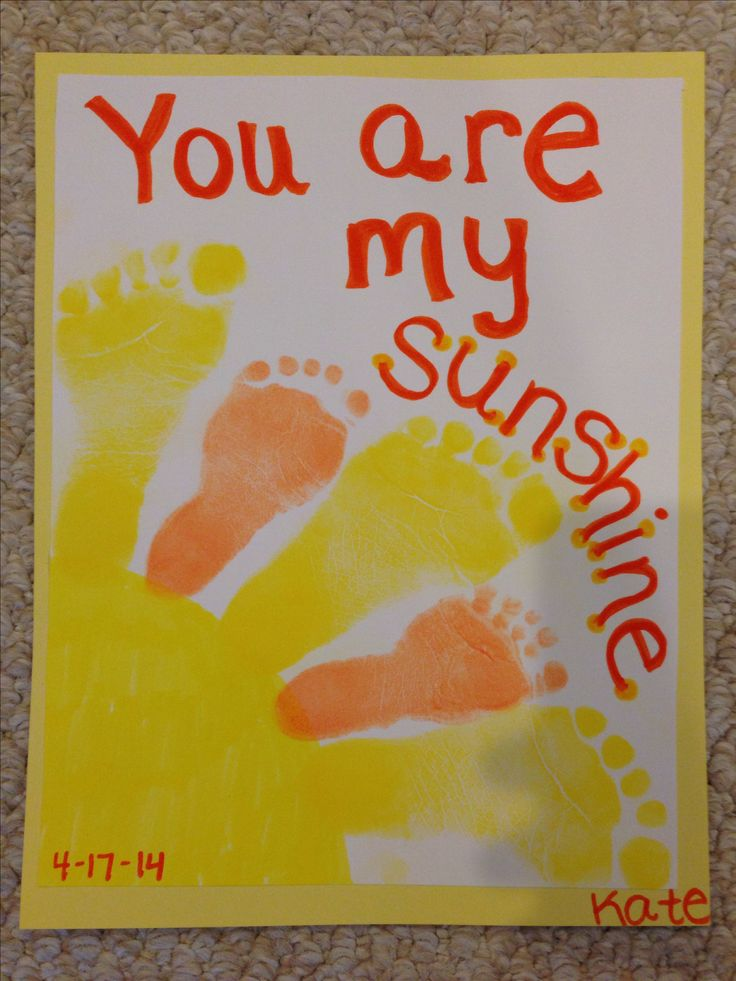 You Are My Sunshine! We needed two different size feet for this project so I had two toddlers make this. Footprint sunshine craft