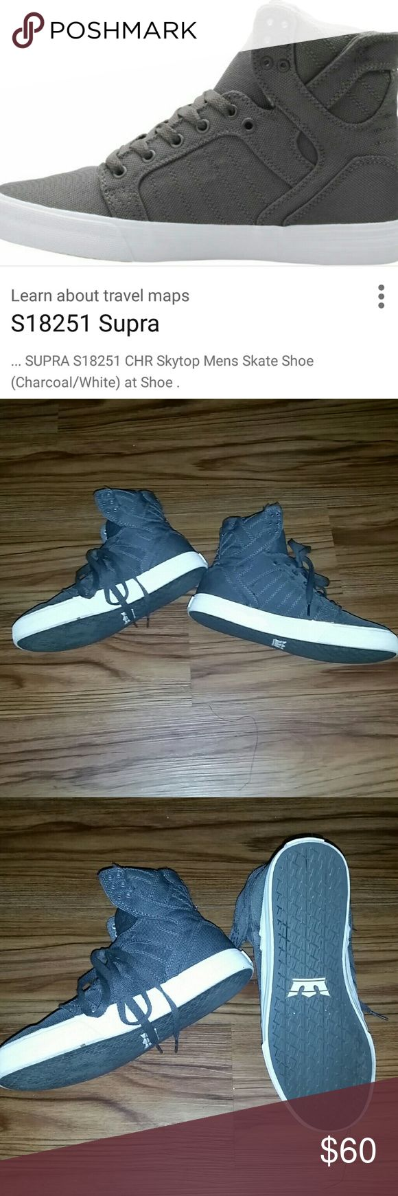 Charcoal gray Supra Skytop shoes Men's Supras Skytop slightly used wore 2 or 3 times Supra Shoes