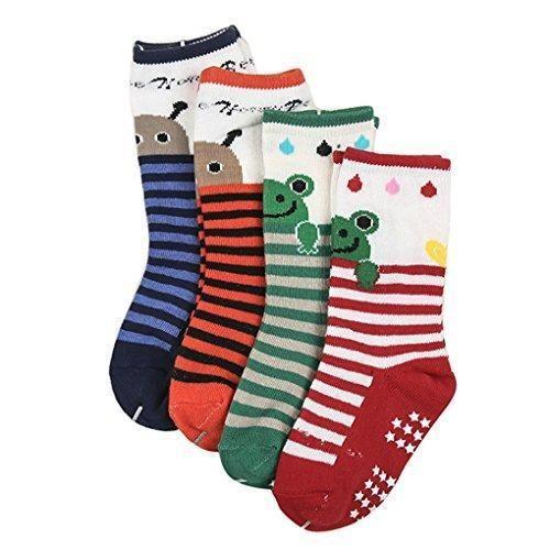 Oferta: 11.99€. Comprar Ofertas de Happy Cherry - (Pack de 4 pares) Calcetines Zapatos Antideslizantes para bebés niños niñas 1-3 años - 12cm barato. ¡Mira las ofertas!