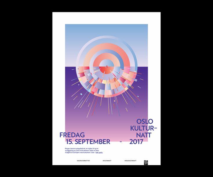 Design av program og plakater for Oslo Kulturnatt 2017. Illustrasjonen er en homage til Edvard Munchs 'Solen' (1916) og det identitetsskapende elementet.