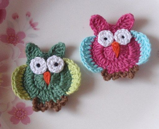 2 Crochet Owls 2 Inches In  Green Lt Green Brown. by YHcrochet, $5.60