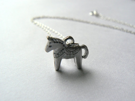 Dala horse charm necklace silver chain by laurabailliedesigns. $16.35 USD, via Etsy.