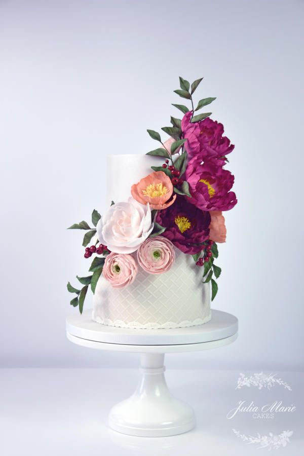 Bright Floral Cake by Julia Marie Cakes - http://cakesdecor.com/cakes/262505-bright-floral-cake