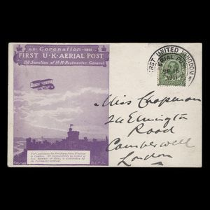 Great Britain 1911 (Cover) First UK Aerial Post