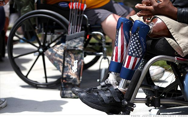 A disabled veteran with prosthetic legs looks on during the archery competition at the inaugural Valor Games Far West on June 11, 2013 in Foster City, California. Description from militaryphotos.net. I searched for this on bing.com/images