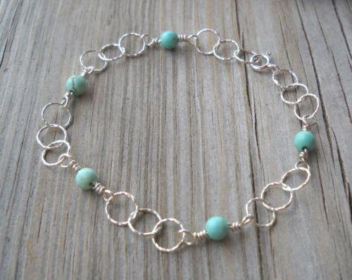 925-Sterling-Silver-Wire-Twisted-Link-Light-Turquoise-Gemstone-Bracelet-Anklet