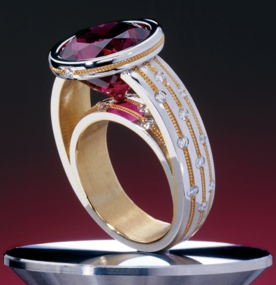 Zoltan david rubelite set in platinum with 24k gold inlay for David s fine jewelry