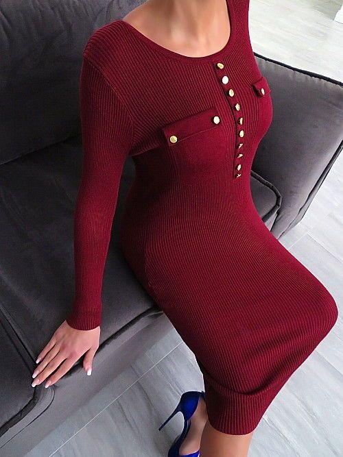 STRETCH LANGE KLEID WINE ROT Strickkleid DAMEN 2018 SEXY BEST FIT R84 DRESS S/M
