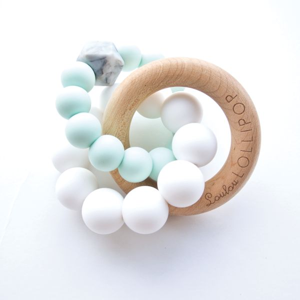 Loulou Lollipop Trinity Teether - Mint | Trendy Wood & Silicone Baby Teethers
