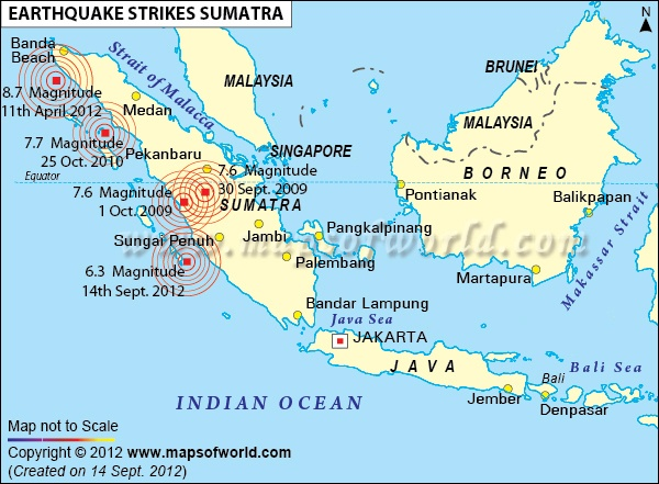 #Map shows locations of different epicenters for #Earthquake in #Sumatra, #Indonesia