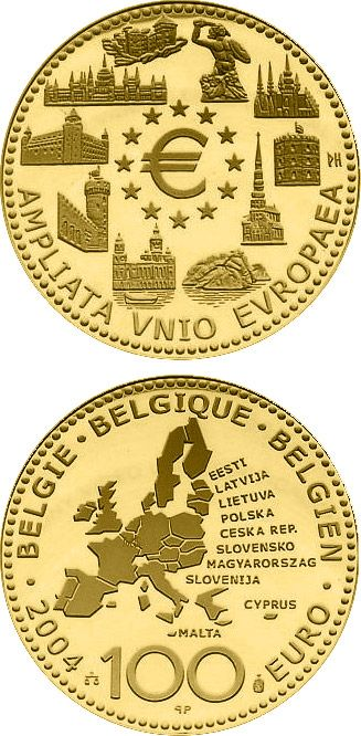 N♡T.100 euro: Enlargement of the European Union.Country:Belgium  Mintage year:2004 Face value:100 euro Diameter:29.00 mm Weight:15.55 g Alloy:Gold Quality:Proof Mintage:5,000 pc proof
