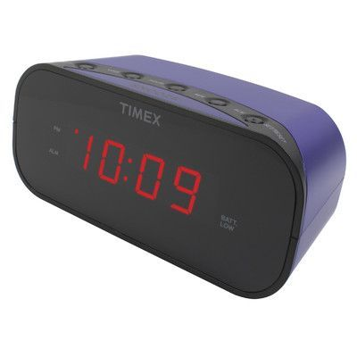 """Timex Alarm Clock with 0.7"""" Red Display Color: Purple"""
