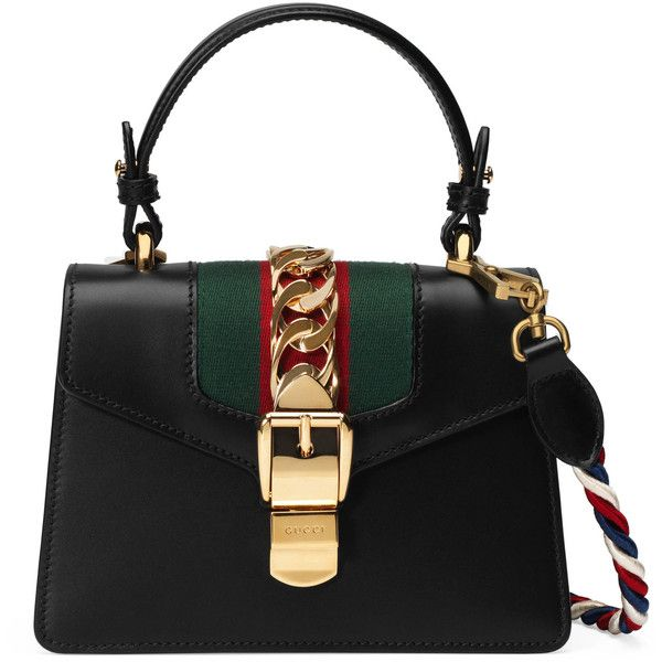 Gucci Sylvie Leather Mini Bag (68.830 UYU) ❤ liked on Polyvore featuring bags, handbags, black, top handles & boston bags, women, mini leather handbags, leather purses, leather handbags, man bag and hand bags
