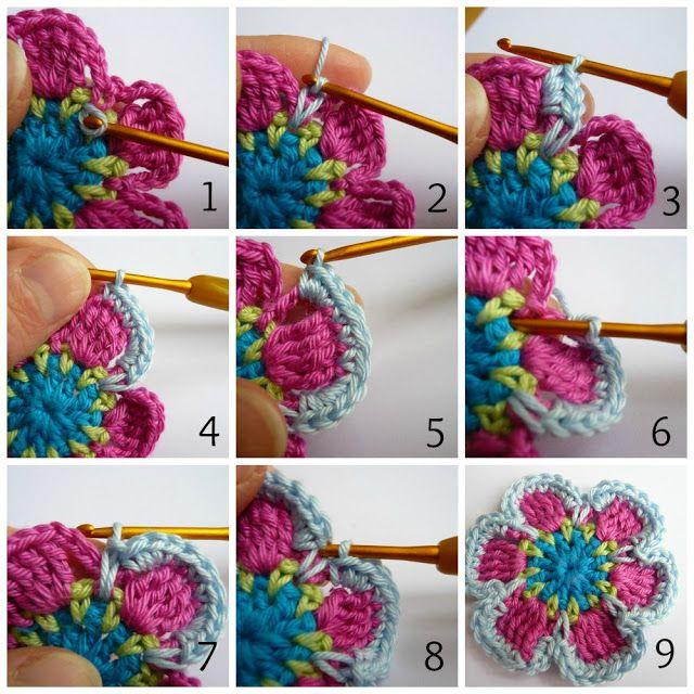 Tutorial bloem haken / Tutorial flower crochet ༺✿ƬⱤღ http://www.pinterest.com/teretegui/✿༻