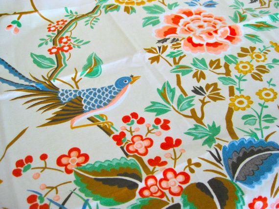 Gorgeous Chinoiserie Vintage Fabric Oriental Bird by NehiandZotz, $15.00