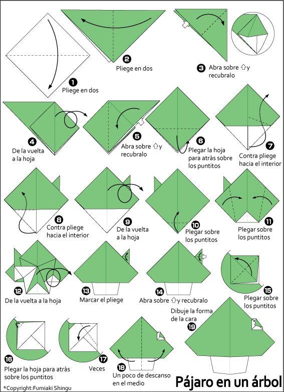 Origami p jaro en un rbol arbolitos de navidad paso a - Arbol de navidad origami ...