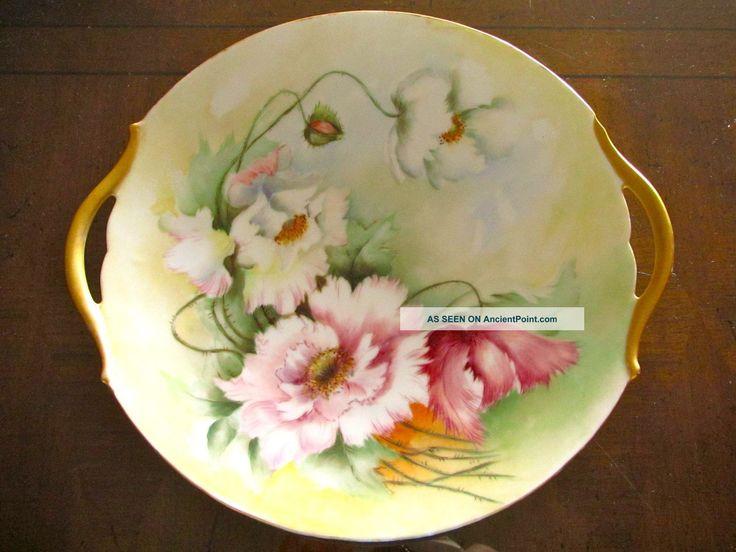 Limoges peinte a la main de fleur de pavot plaque de porcelaine Avec Poignées. T & V. France. Assiettes & Chargeurs photo