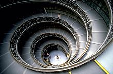 Interior Staircase: Bramante Staircase. The Bramante Staircase is a double helix staircase located in the Vatican Museums in the Vatican City State.