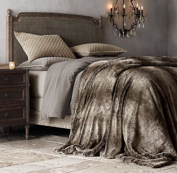 Oversized Luxe Faux Fur Bed Throw $199  Restoration Hardware   96 x 80