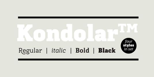Kondolar Unexpected flourishes on certain characters give Cadson Demak's appealing slab serif something of a dual personality. This top font work hard as a legible text face, but used large enough, the sweeping descenders on the 'K', 'Q' and 'R' provide just the level of detail it needs to feel special enough to carry a headline.