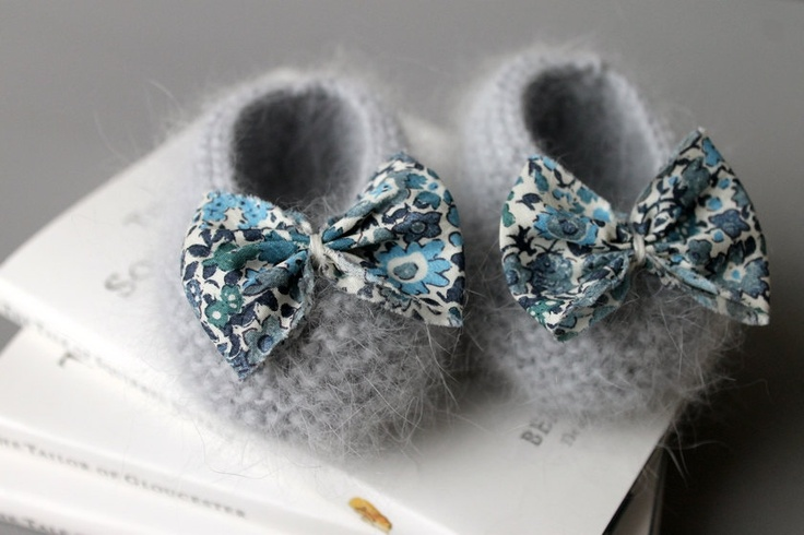 Angora baby booties with Liberty fabric bowtie