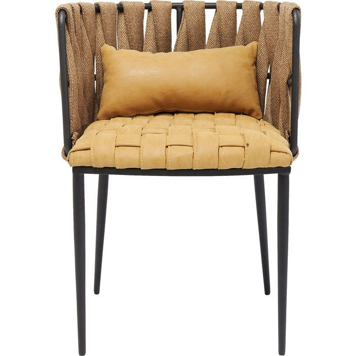 Chair With Armrest Cheerio Yellow Incl Cushion Kare Design