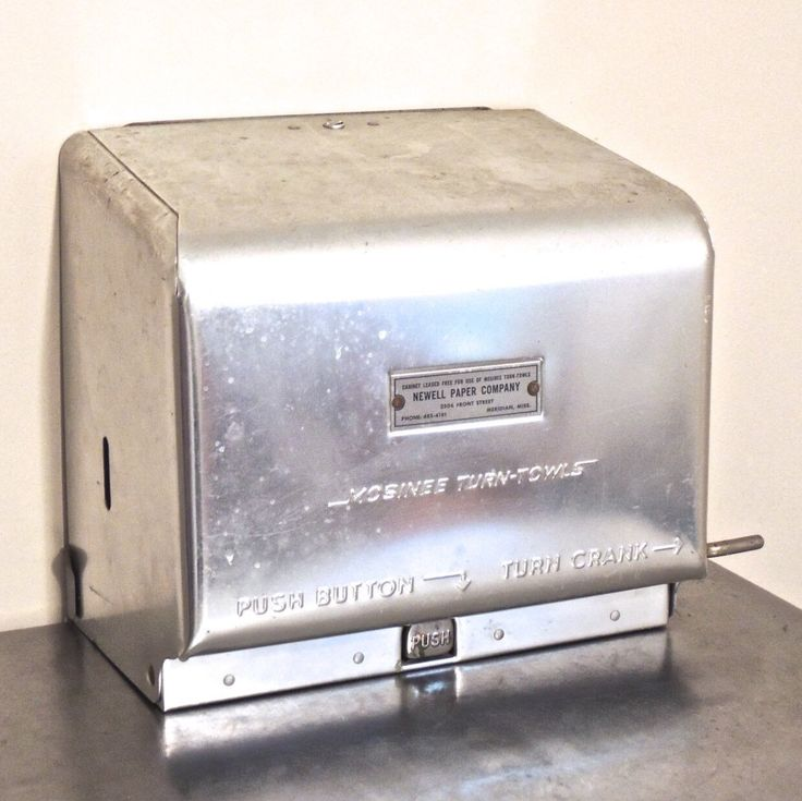 Vintage 1950s-60s midcentury industrial Newell Paper Co./Mosinee Turn-Towls chrome hand-crank wall mount paper towel/napkin dispenser; some minor signs of light-normal age/use but overall fantastic condition.  Measurements 11.5