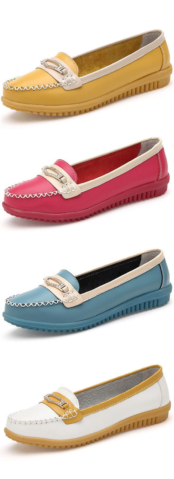 $17.94  Women Casual Leather Shoes, Colors Pointed Toe Flats ,Soft Sole Slip On Leather Loafer Shoes,flats shoes,flats outfit,flats sandals,loafers,loafers outfit,loafers for women