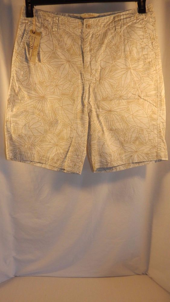 Ocean & Coast Shorts Beige Tropical Floral Print Size 34 NWT $45 MSRP…