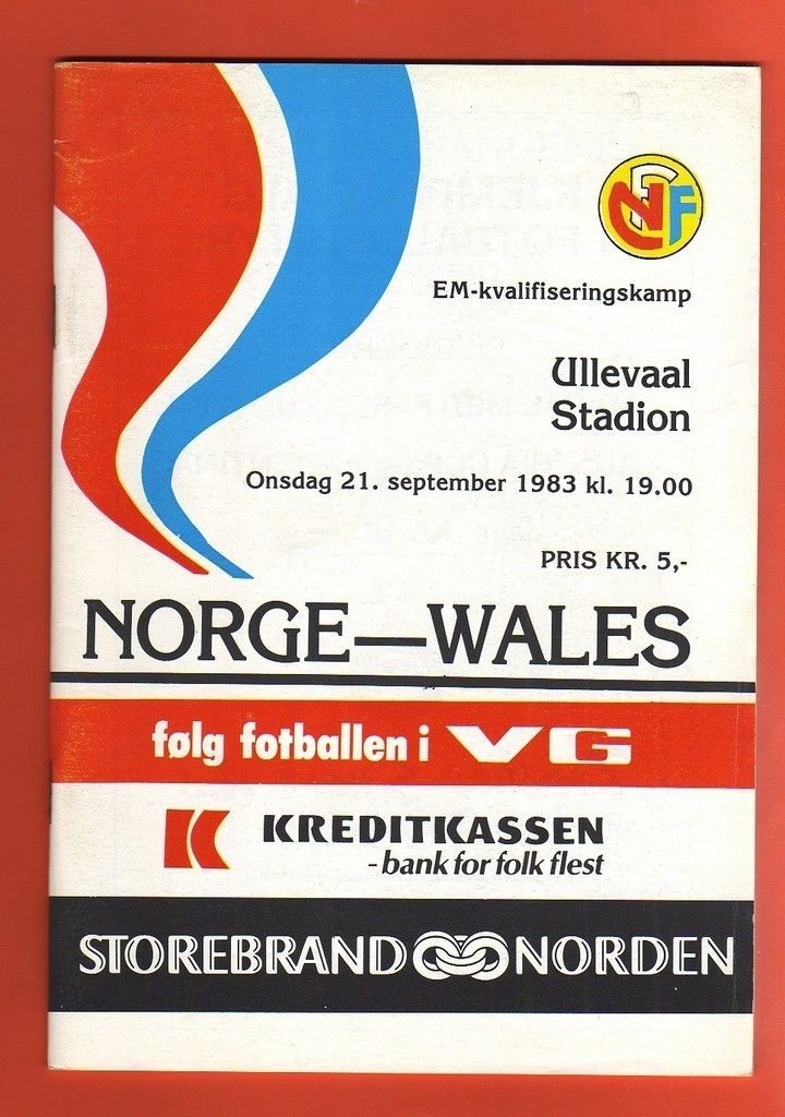 Orig.PRG   European Championship Qual. 1983   NORWAY - WALES  !!  VERY RARE in Sports Memorabilia, Football Programmes, International Fixtures, European Championship Fixtures, European Champs Qualifying | eBay