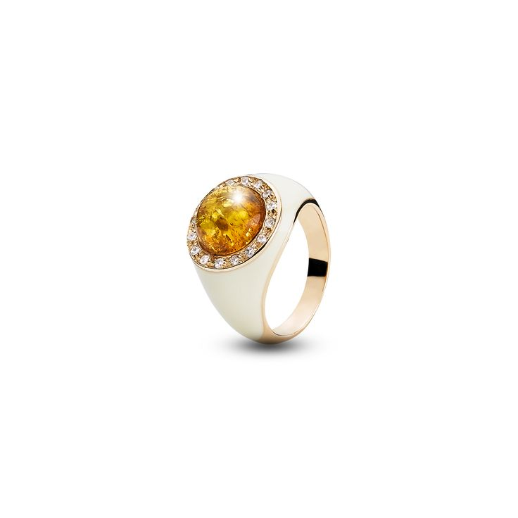 House of Amber - A desirable ring in rose gold sterling silver, zirconia pearls, white enamel, and cognac amber. This fascinating ring is a part of the Enlightened Enamel Collection.