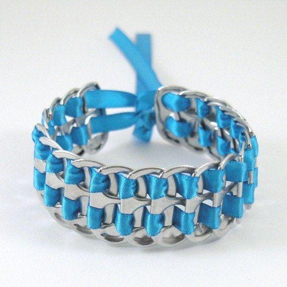 pop tab bracelet - blue, stacked weave,  7  inch.