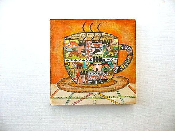 Tigress Coffee Cup Art Coffee Collage Coffee by luckduck on Etsy  $38