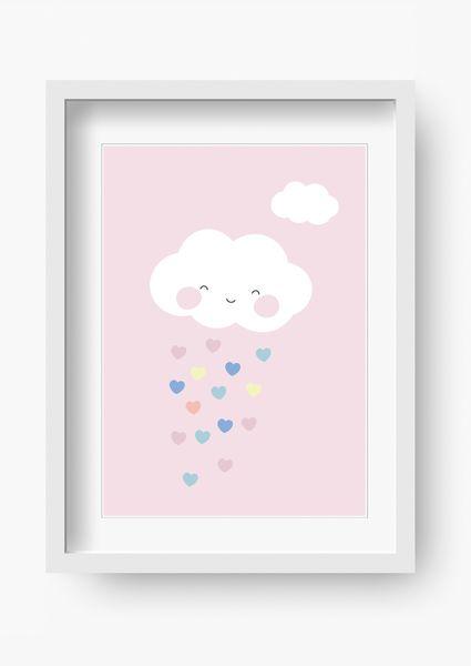 Bilder Kinderzimmer Poster Kinderbild Wolke Rosa Kinder