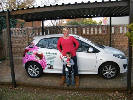 """Sandy: """"Are you ready for winter, well my family is thanks to Echinaforce - A.Vogel. Look out for our beautifully branded cars (by Brandyourcar.com)on the roads."""""""