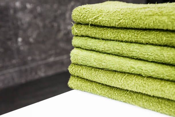 green towels in the bathroom