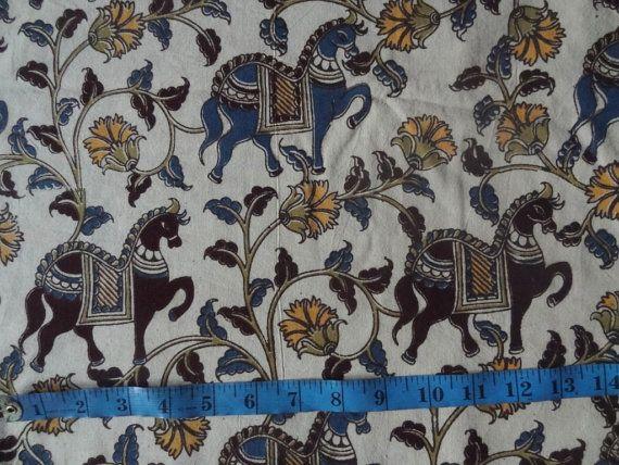 Kalamkari Indian block print KalamKari fabric 44'' by indianstores