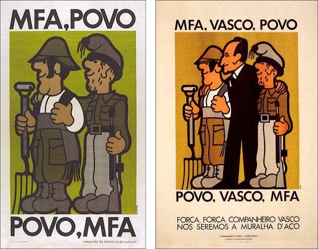 """João Abel Manta, carteles de la """"campaña de dinamización cultural"""" en apoyo al gobierno revolucionario y al PREC. El de la derecha muestra el apoyo al presidente del gobierno revolucionario Vasco Gonçalves. MFA: Movimiento de las Fuerzas Armadas."""