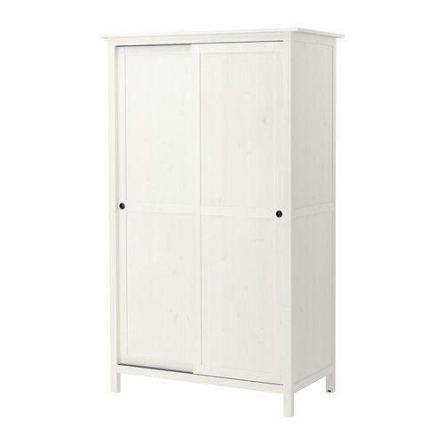 IKEA - HEMNES, Armoire 2 portes coulissantes, teinté blanc, , En bois massif, un matériau naturel et résistant à l'usure.Pour ranger des vêtements longs et courts à suspendre, et des vêtements pliés.Pour organiser l'intérieur, vous pouvez utiliser les accessoires de la série SVIRA.