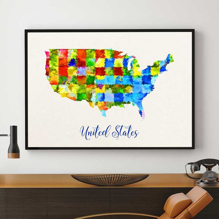 US Map Print, United States Art, Watercolor Map Decor, US Wall Art Decor, American Birthday Gift, Homeland Wall Art (704) by PointDot on Etsy